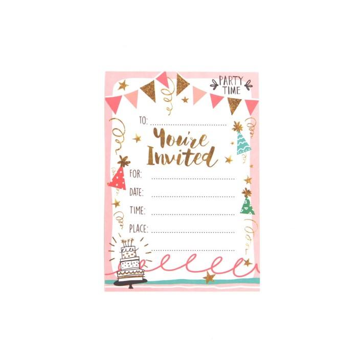 kartu udangan / birthday party invitation card - gold & pink party