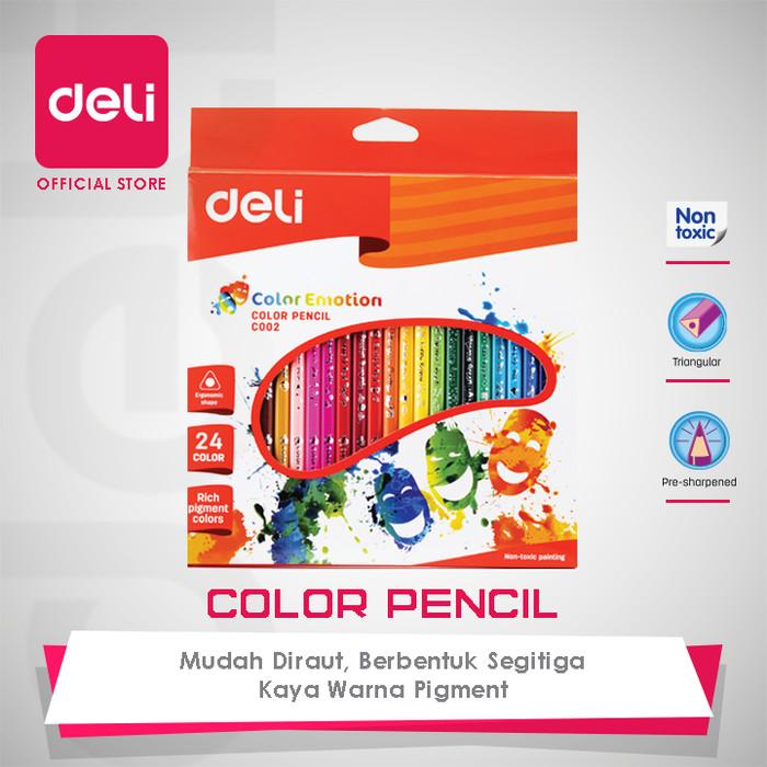 deli colored pencil triangle soft basswood rich 24c [ec00220] - pensil