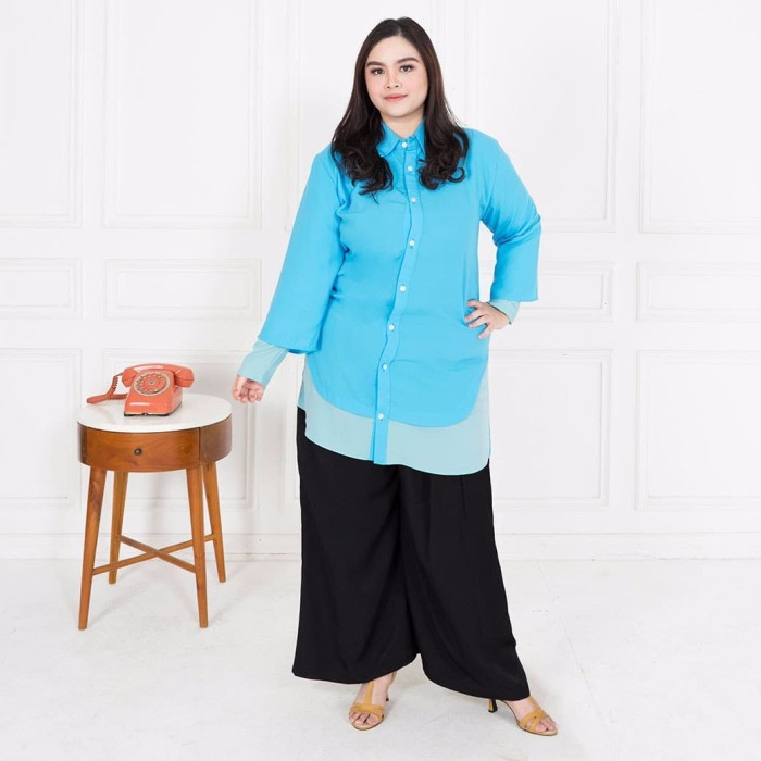Fashion big size aluma long shirt - biru muda 5xl