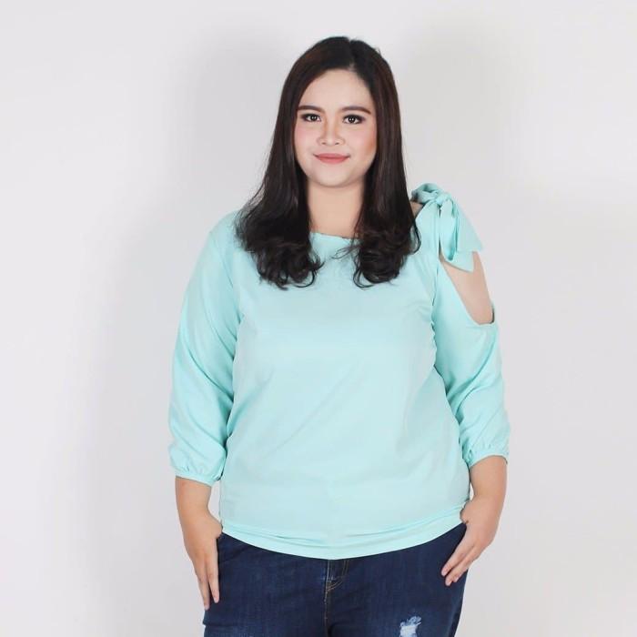 Fashion big size cleva blouse - turquoise 5xl