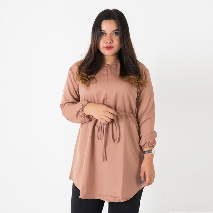 Fashion big size larina blouse - cokelat muda 2xl
