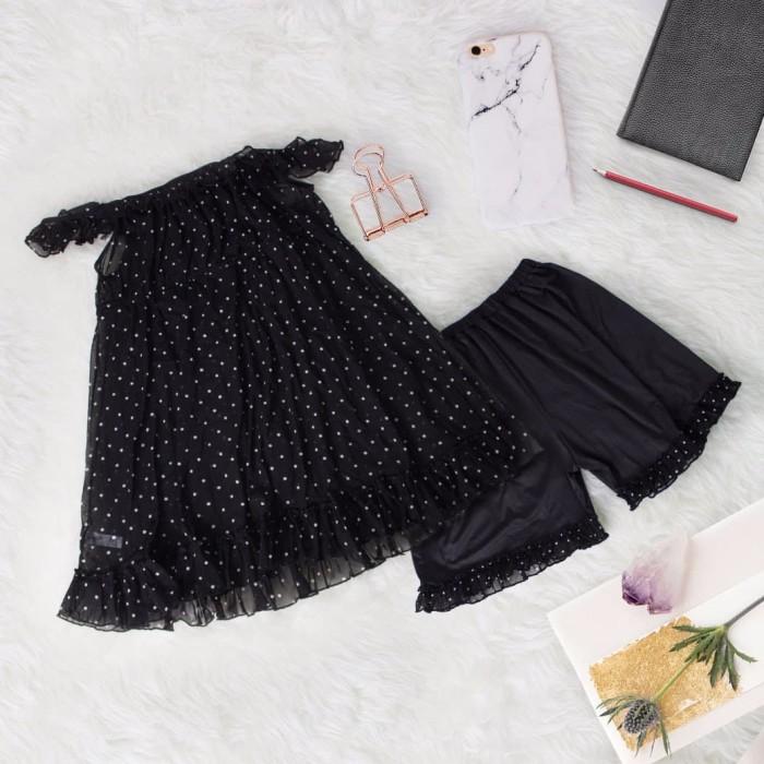 Fashion big size meisie sleepwear - hitam 2xl