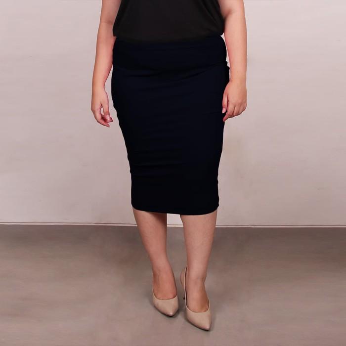 Fashion big size basic pencil skirt - navy 4xl