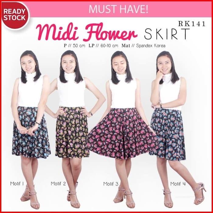aadd89961de30b Update Harga Midi Flower Flare Skirt Rok Bunga Rok Wanita RK141 Di ...