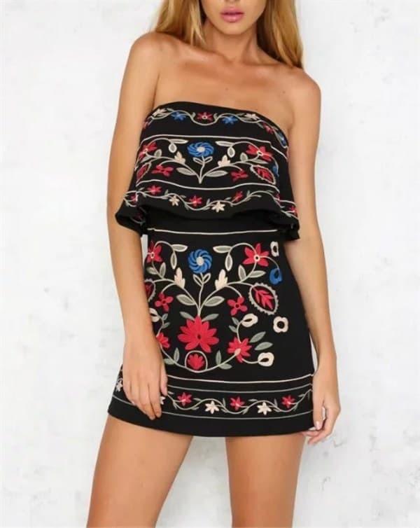 WST 20707 Layered Tube Flower Dress BLacK - Putih, S