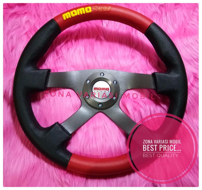 harga Stir steer racing mobil universal momo 14 inch k4 sport merah hitam Tokopedia.com