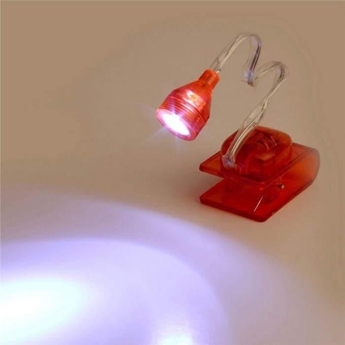Foto Produk Lampu Meja Mini Lampu Baca Buku Dengan Jepit Lampu LED - Merah dari KoekMuraH