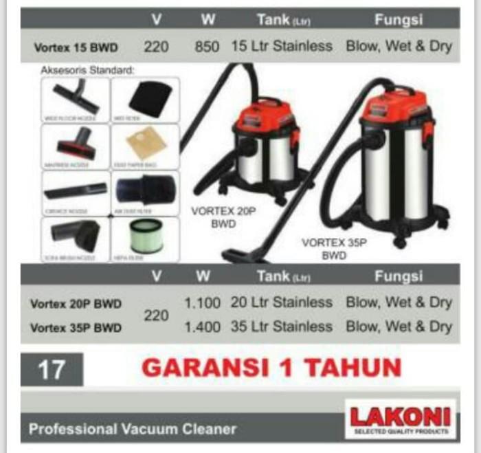 harga Vacuum cleaner wet/dry lakoni vortex 20p bwd Tokopedia.com