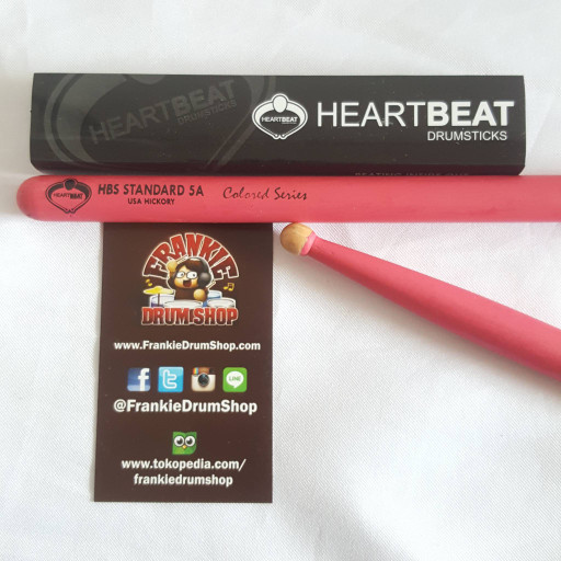 Foto Produk HeartBeat HBS5AHRCP - 5A Pink HBS Standard Round Tip Hickory Stick dari FrankieDrumShop
