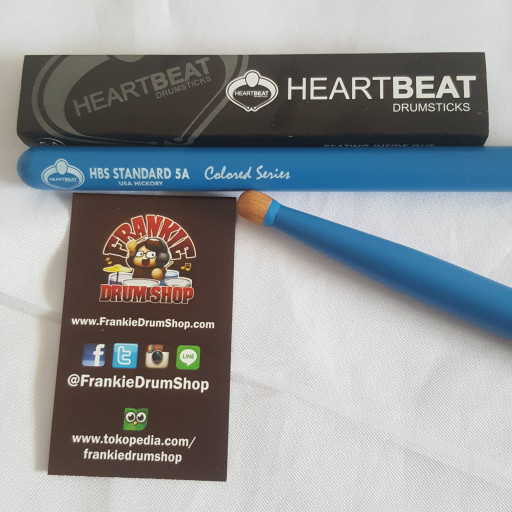 Foto Produk HeartBeat HBS5AHOCBL - 5A Blue HBS Standard Oval Tip Hickory StickDrum dari FrankieDrumShop