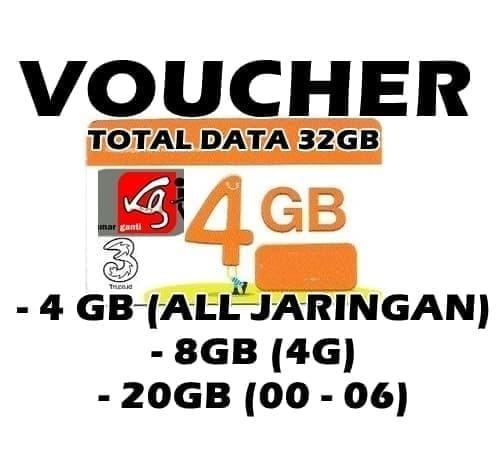 Jual Murah Voucher Three 4gb Kuota Internet 3 Data Tri 4 Gb 24 Jam Kota Metro Hoki Selluler Tokopedia