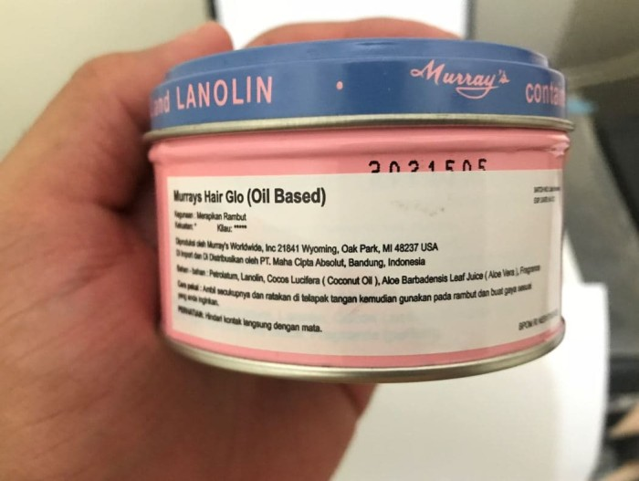 Pomade Murrays Hair Glo Oil Based 3 Oz + Free Sisir Saku Sudah BPOM
