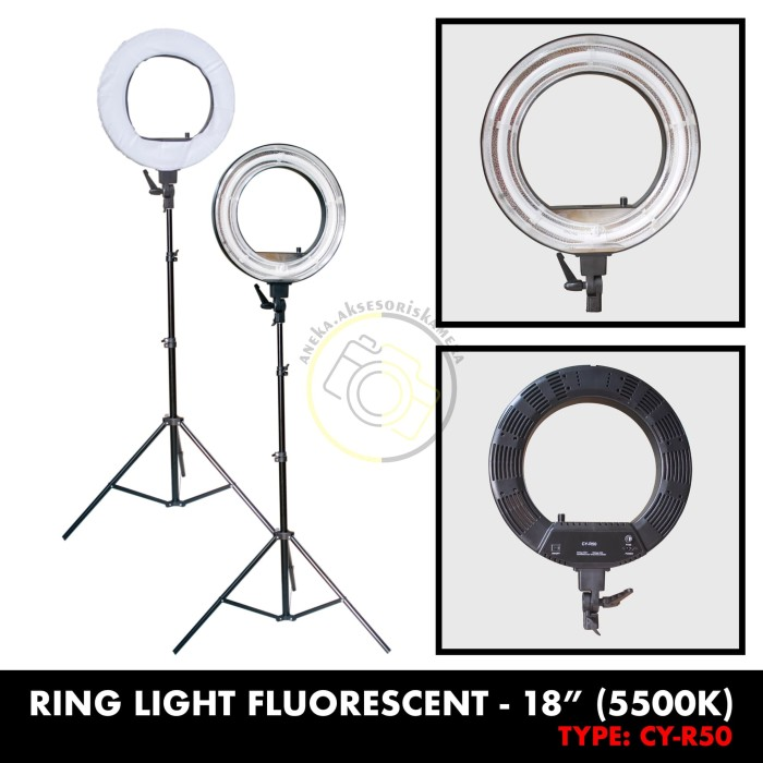 Ring light 18in lamp dimmable with tripod stand (bohlam)