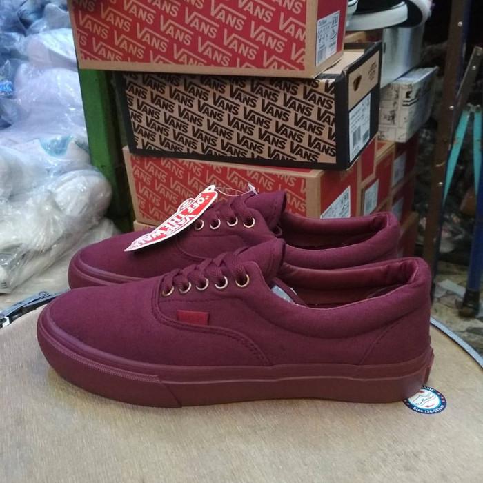 Sepatu Vans Premium Authentic Maroon Gum Maroon