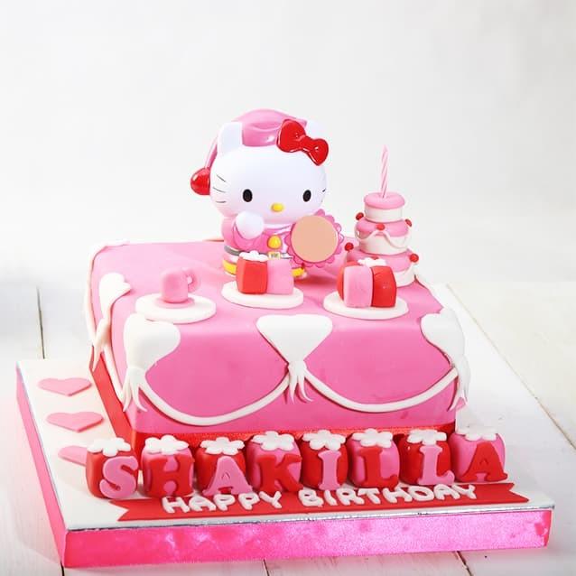 Jual Kue Ulang Tahun Model Hello Kitty Ukuran 20 X 20 Cm Fondant Jakarta Barat Stelete Cake Tokopedia