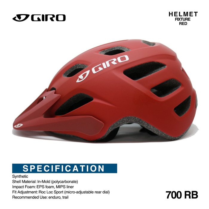 Foto Produk helm sepeda gunung Helmet GIRO FIXTURE Mtb Red doff - Hitam dari Technobike