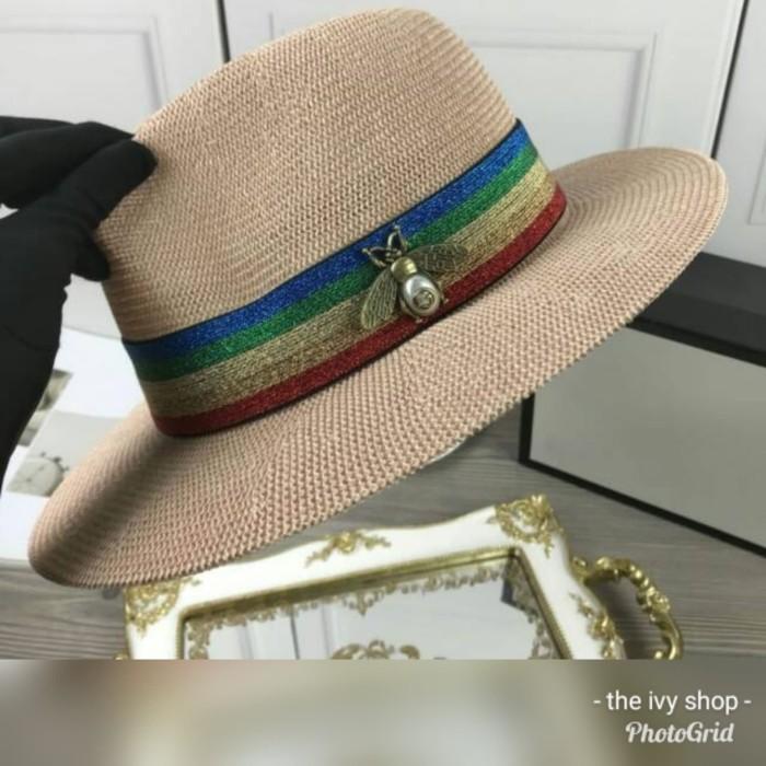 e8e2beab12ae0 Jual Topi Wanita Gucci Boater Hat Papier Woven Straw Bee Fedora ...