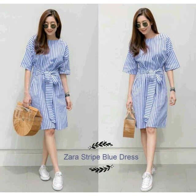 harga Zara stripe blue dress tunik kotak baju muslim kemeja garis dress Tokopedia.com