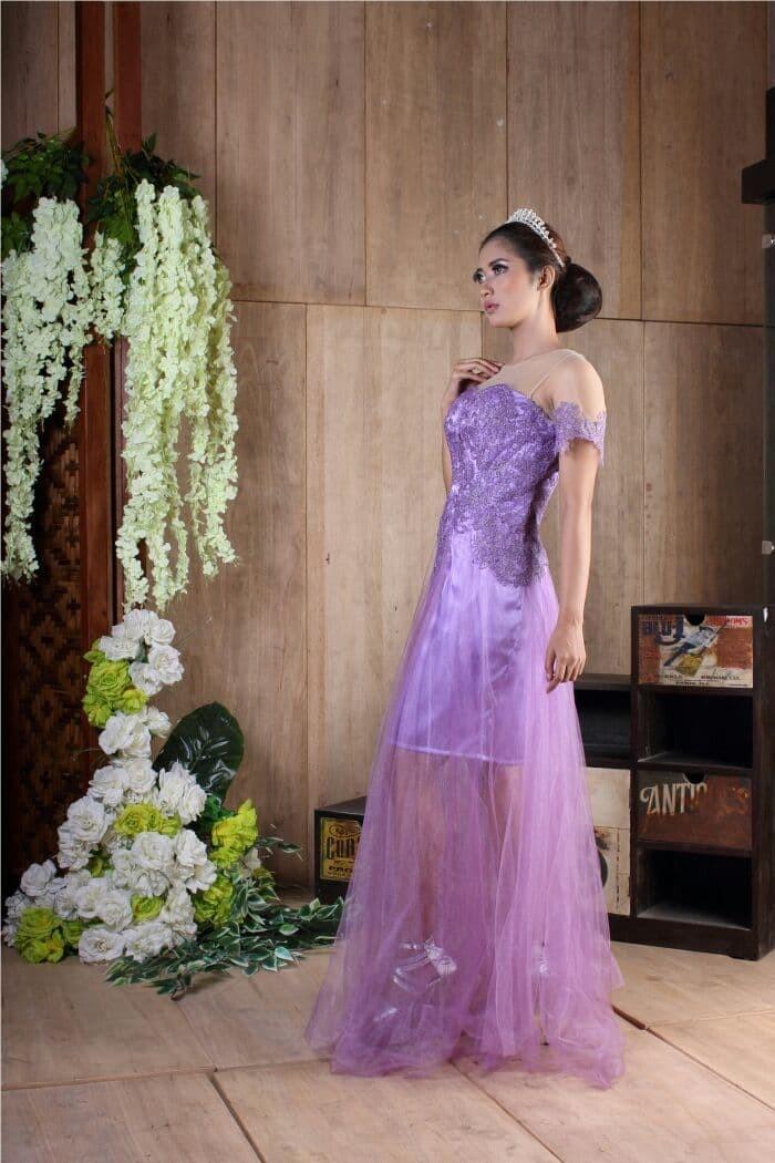 Jual Baju Long Dress Modern Baju Pesta Ungu Tile Dress Panjang