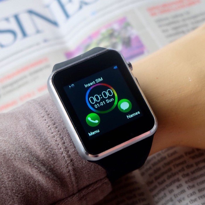 harga I phone smart watch touch screen black silver Tokopedia.com