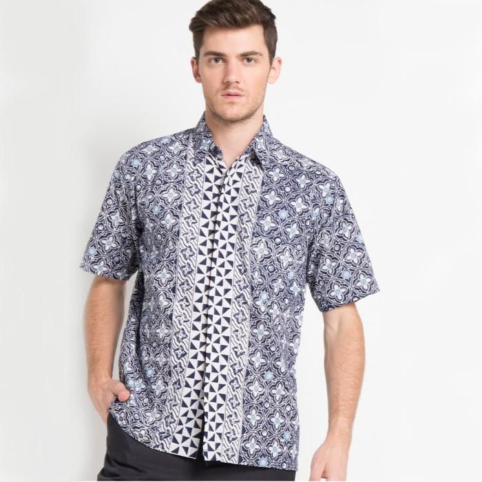 harga Batik aksen tropis- hem primis bunga keris biru - navy m Tokopedia.com