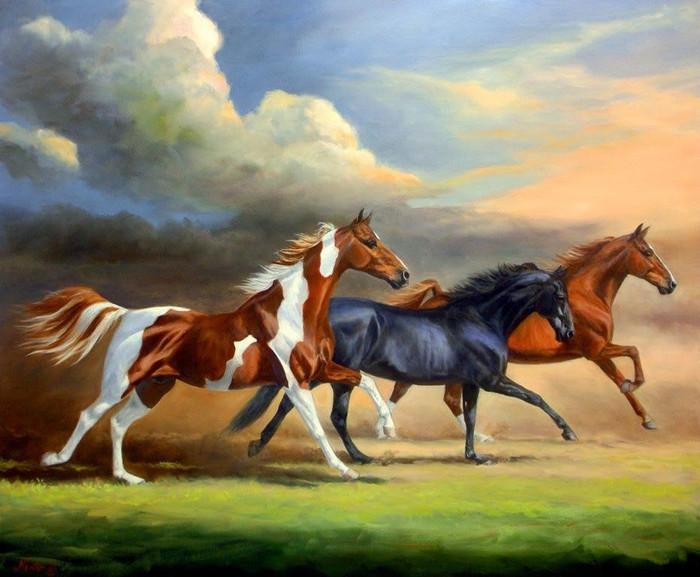 harga Lukisan dekorasi tiga kuda Tokopedia.com