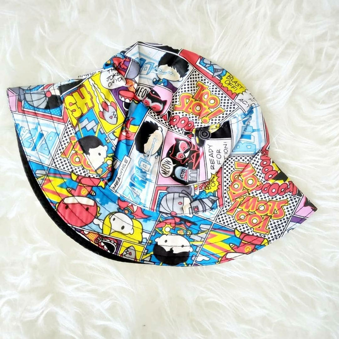671db406bb0 Jual Topi Bucket Hat anak   double side motif   motif lucu lucu ...