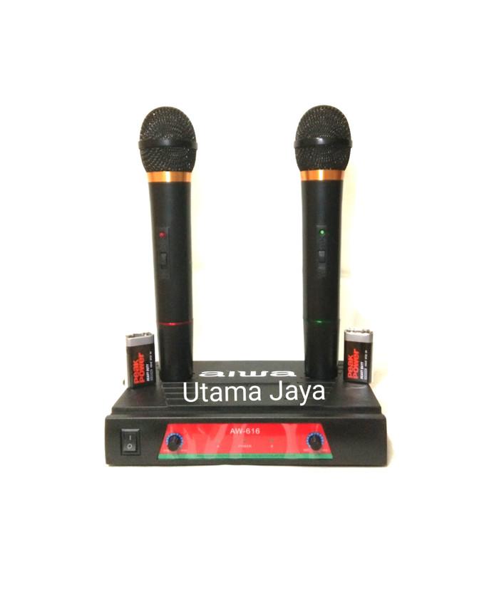 harga Microphone aiwa aw-616 wireless double mic Tokopedia.com