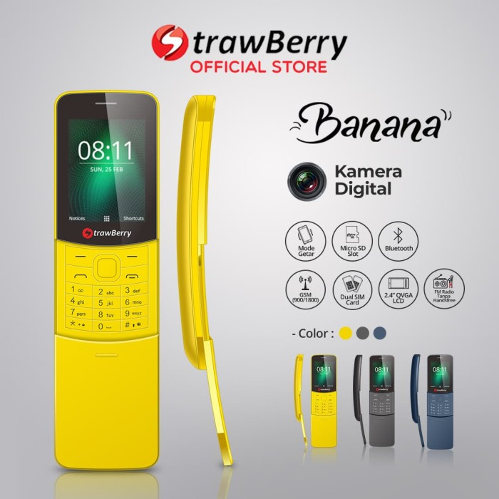 harga Strawberry banana | handphone slider hp murah kamera 16gb bluetooth - yellow Tokopedia.com