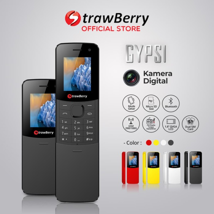 harga Strawberry – gypsi | handphone slider hp murah kamera bluetooth - black Tokopedia.com