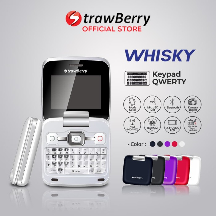 harga Strawberry whisky | handphone flip hp murah kamera bluetooth qwerty - white Tokopedia.com