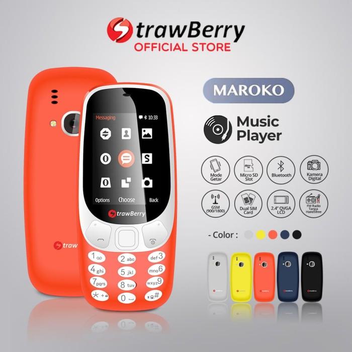 harga Strawberry – maroko 3310 | handphone candybar hp murah kamera senter - red Tokopedia.com