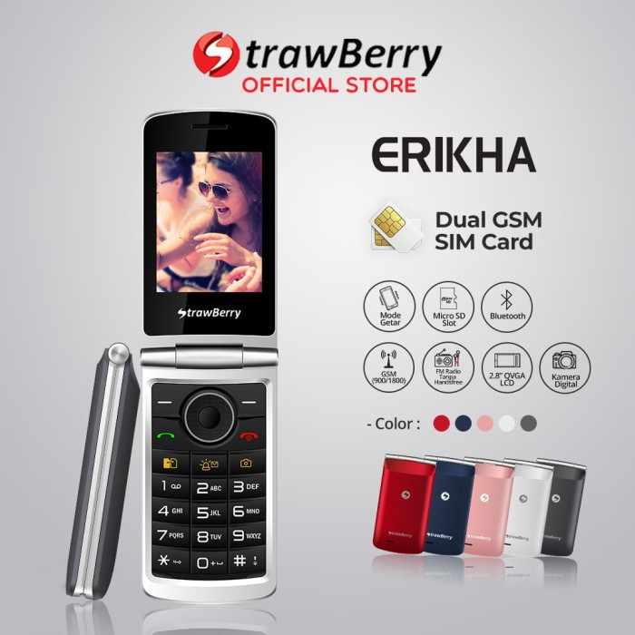 Jual Strawberry Erikha Handphone Flip Hp Murah Kamera Bluetooth