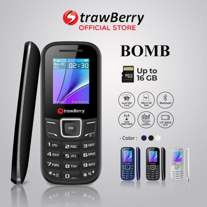 harga Strawberry – bomb | handphone candybar hp murah dual sim bluetooth - black Tokopedia.com