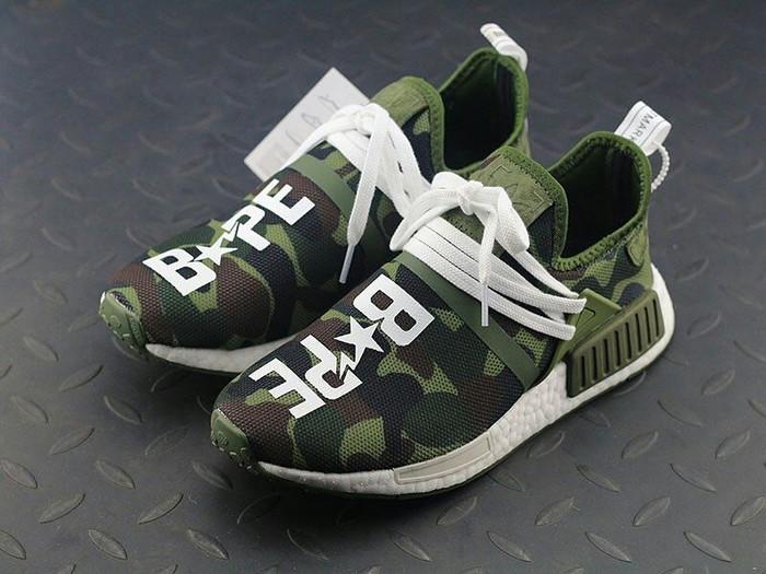60c199684bad0 Jual Sepatu Sneakers - Adidas Human Race X Bape - Hijau Tua