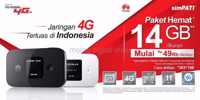 harga Mifi router huawei e5577 speed 4g lte jumper bundling telkomsel 14gb Tokopedia.com