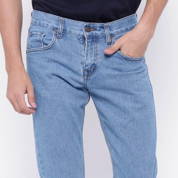 Celana Jeans Panjang Pria Cowok Roma Slim Fit Pria Panjang Biru Muda