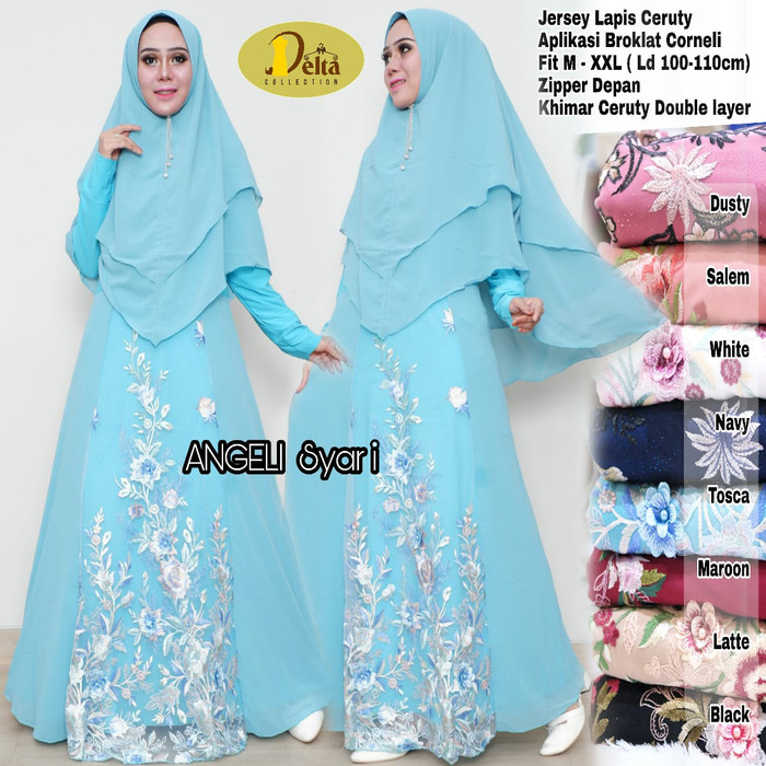 Angeli syari set + Khimar ORIGINAL DELTA