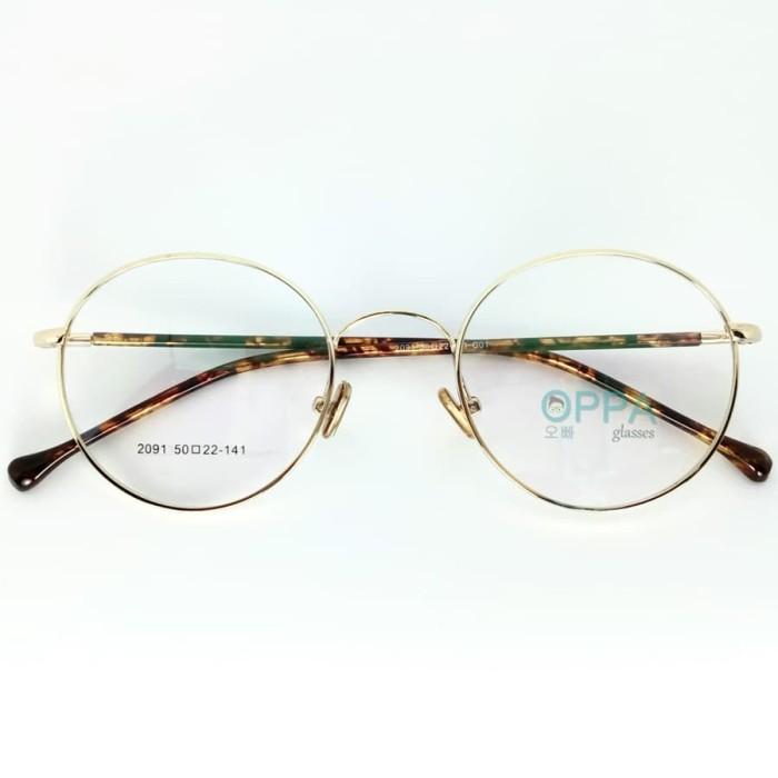 Jual Frame Kacamata Korea Pria Wanita Oppa Op32 Gd Gold Bulat Minus ... 09502eb4d1