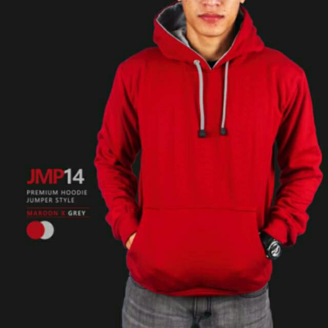 Jaket Polos Hoodie Merah Bigsize XXL XXXL XXXXL XXXXXL - Merah, XXL