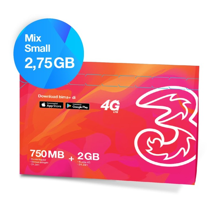 kartu perdana + paket data tri mix small 2.75gb