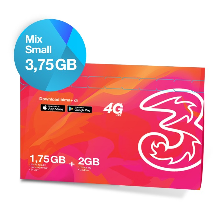 kartu perdana + paket data tri mix small 3.75gb