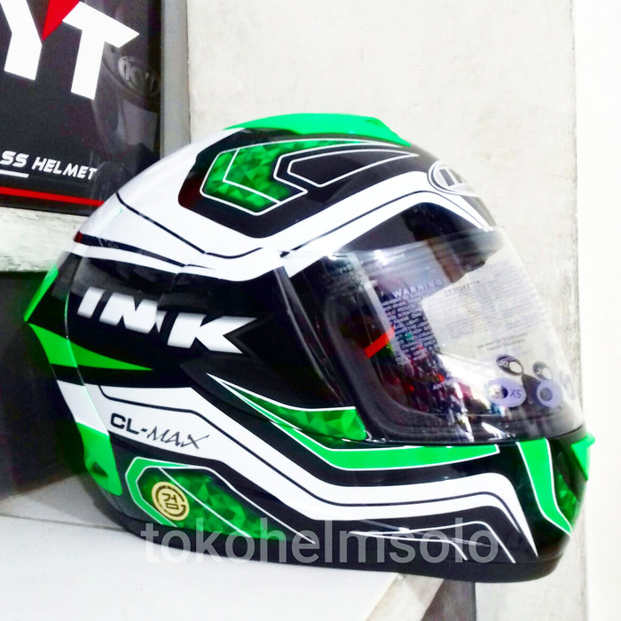Helm INK CL Max Seri 5 White Green Fluo