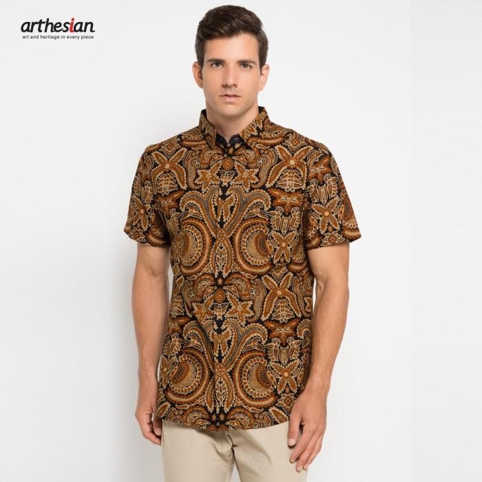 harga [arthesian] kemeja batik pria - garuda kencana batik printing - cokelat tua l Tokopedia.com