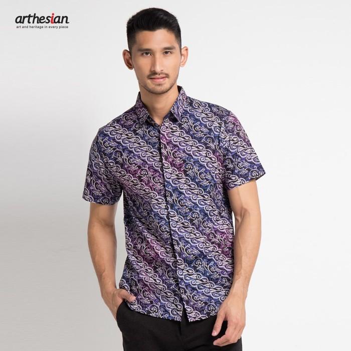 harga [arthesian] kemeja batik pria - adhikari batik semi dobby - ungu xxl Tokopedia.com