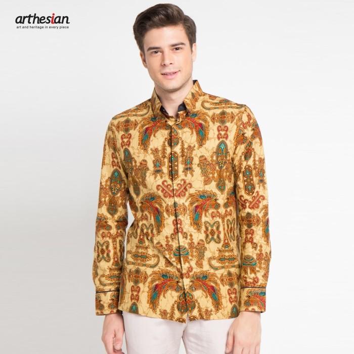 harga [arthesian] kemeja batik pria - papua batik printing - kuning s Tokopedia.com