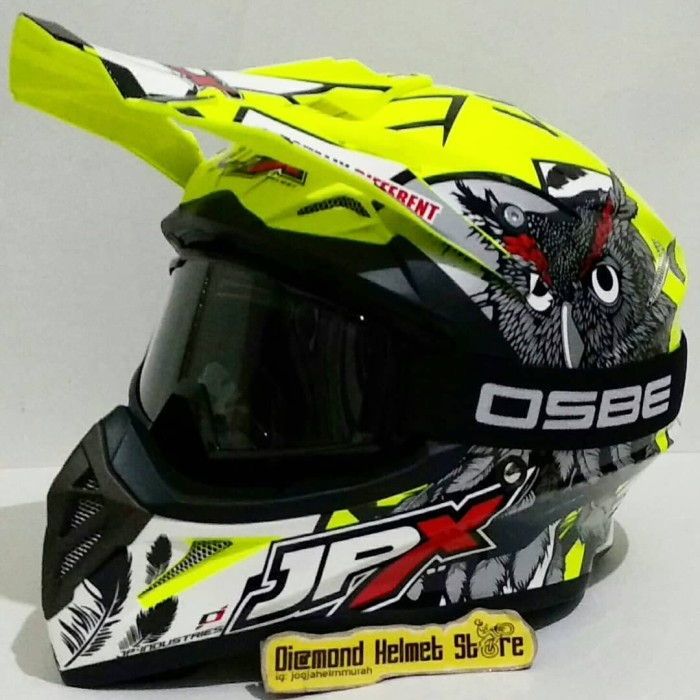 Paket helm cross jpx owl lucky 7 yellow fluo goggle osbe black