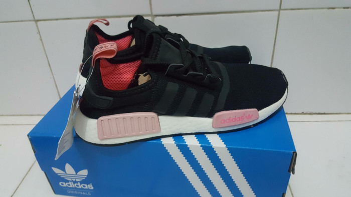 3b87a4299c1bb ... be875a4a0f58b Jual Sepatu Sneakers Adidas NMD R1 Black Peach Pink Women  Premium ... 4d9957c617221 Women s Sneakers Athletic Shoes ...