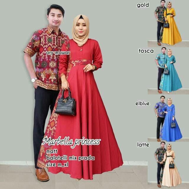 ... harga Couple gamis marbella princess   sarimbit gaun batik savana  marbela Tokopedia.com cad338ed96