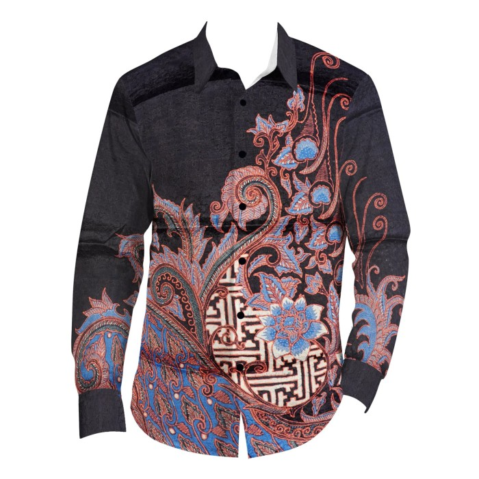 harga Batik aksen tropis bahan kemeja sutra atbm banji bunga biru Tokopedia.com